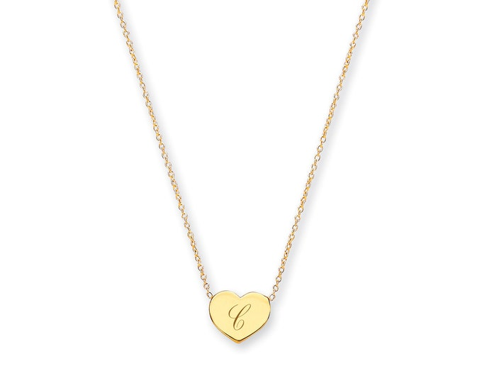 "Personalised 9ct Yellow Gold Small 9mm Heart Engraved Disc Initial 16""-17"" Necklace"