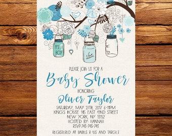 Baby shower invitation kit blue boho floral watercolor baby mason jars baby shower invitationrustic baby boy shower invitation floral baby shower filmwisefo