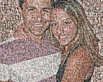 """Custom Photo Mosaic Print Art Using 50-200 of your Personal Photos- 16x20"""" and up-OOAK"""
