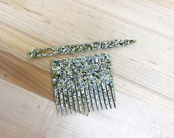 Gold and Silver confetti glitter weaving tool set