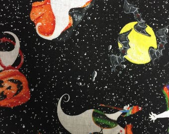 Halloween Glitter Print Fabric-Black with White Ghosts