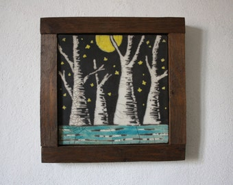 "Raku and wood decorative panel ""Full Moon"""