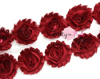 BURGUNDY  Shabby Rose Trim - Shabby Chiffon Rosettes - 1/2 Yard or 1 Yard - Shabby Flower Trim - Wholesale Shabby Flower - Chiffon Flower