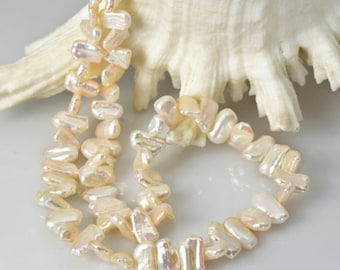 """15.8"""" FRESHWATER Keshi PEARL Strand 32.53 g Lustrous Multicolor Baroque China"""