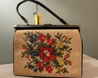 Vintage Verdi Floral Needlepoint Top Handle Purse New with Tags