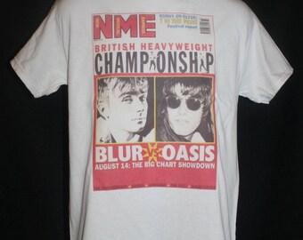 NME blur vs oasis t-shirt indie rock retro britpop 1990s 90 magazine hipster vtg vintage