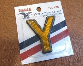 "Letter Y VINTAGE 2"" Reflective Letter ""Y"" Altered Art Assemblage Supplies Reflective Self Stick Eagle Letter Y (Y440)"