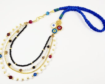 Rustic Long Layered Beaded Asymmetric Artisan Necklace - Turkish Evil Eye - Blue Silk Cord - Fashion