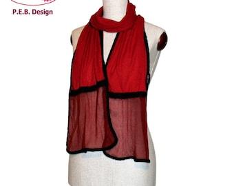 Silk scarf volant Red-black, nuno-scarf, felt-scarf, silk, bourette, wool