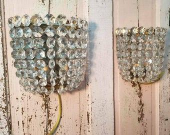 Beautiful Pair of Austrian Crystal Sconces