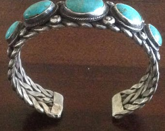 "Navajo Older Silver and Turquoise Cuff Bracelet from 1940's or 1950""s"