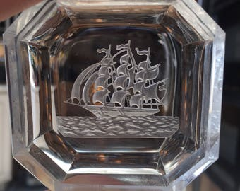 Small Glass Etched Ship Frosted Catch All Dish