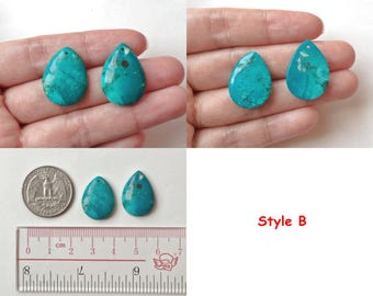 Rare Blue Green Chrysocolla Pear Drops with drilled hole One Pair K5571
