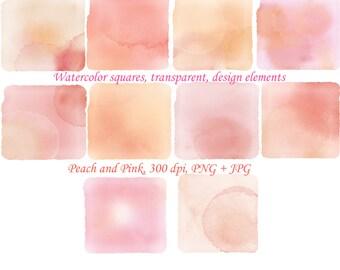 Watercolor clipart, peach watercolor squares, clipart squares, digital graphics, pink watercolor banners, design elements