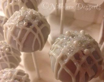 WEDDING cake pops, Bridal Shower, wedding reception, white, wedding favors, white on white