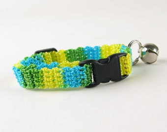 Cat Collar Crochet Turquoise Green and Yellow Ombre Breakaway Collar Kitty Kitten