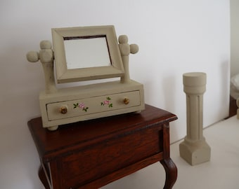 Miniature hand painted Shabby Chic dressing table one 12th scale