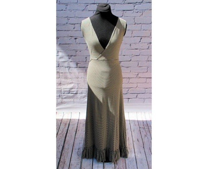 Black and Gray Striped Organic Cotton Maxi Dress