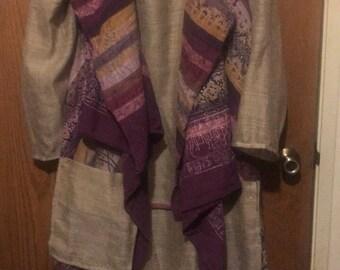Resale, Eco friendly, Mori girl, Lagen look, Upscale, Vintage cotton striped duster with hi lo linen blend dress