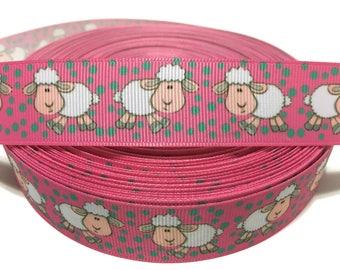 """1"""" Baby Sheep Ribbon, 25mm Lamb Ribbon, Sheep Grosgrain ribbon, Lamb Grosgrain Ribbon, Baby Shower Ribbon, Its a Girl ribbon"""