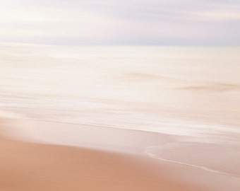 Abstract beach photograph. Coastal landscape picture. Peaceful water photography. Calming spa artwork. Housewarming gift for sister.