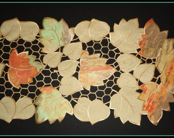 63' Fabulous Fall Shelf Runner Mantle Scarf Doily Maple Leaf Leaves