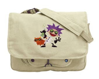 Science Cat Bag, Science Messenger Bag, Scientist Canvas Bag, Eureka Mad Scientist Embroidered Canvas Messenger Bag