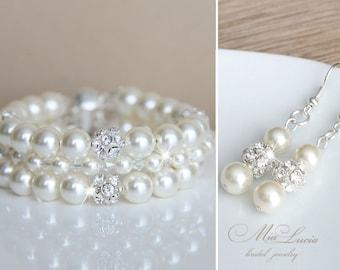 Bridal Bracelet and Earrings set, Ivory Pearl Bridal Jewelry set, Pearl set for bride, Wedding jewelry Crystal set, Pearls art e02-b13