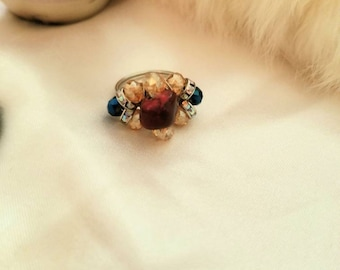 Red Jasper style cluster ring with blue and gold beading