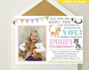 Kitten Photo Invitation / Kitten Invitation / Kitty Birthday Invite / Are You Kitten Me Invite / Kitten Invitation / Smitten Kitten Party