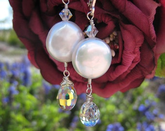 pearl earrings coin pearl earring bride bridal bridesmaids swarovski crystal jewelry sterling silver 14kt gold filled wedding gift idea June