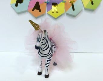 Birthday Zebra Cake Topper, Zebra with Pink Tutu, Animal Cake Topper for Birthday Party