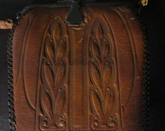 Vintage Art Art Nouveau  Brown Hand Tooled Wilson's Leather Purse/Handbag  Pat.10-5-15
