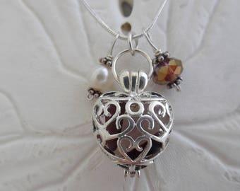 Purple Sea Glass Necklace Heart Locket Jewelry  Beach Glass Pendant Charm Silver