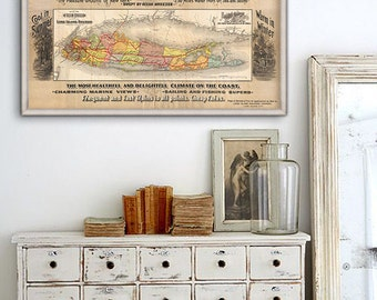 """Map of Long Island 1891, Long Island map 3 sizes up to 48x24"""" (120x60cm) """"Buy Homes on Long Island"""" New York - Limited Edition of 100"""