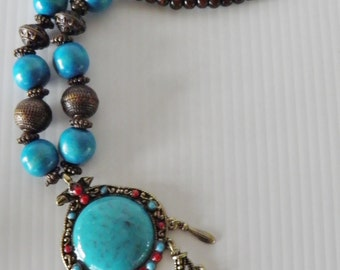 SALE***Hunky, Bold Boho Turquoise and Coral Colored Necklace.  Was 95.00, now