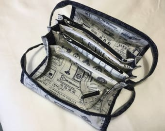 Bionic gear bag in blue and white for sewing, make up, sew together bag, organiser bag, crafts, pencil case. Gifts for her. Mother's Day