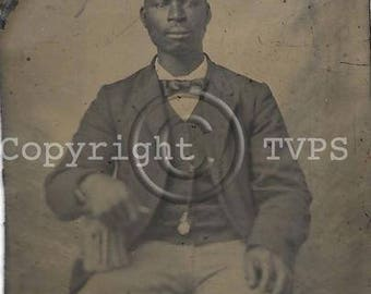 Black Americana Tintype photograph Seated Man Pocket Watch