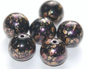 Vintage Metallic Black Purple and Gold Splatter Beads 12mm Germany bds257C