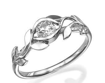 Flower Engagement Ring, 14K Gold and Diamond Engagement Ring, Natural Diamond, Leaf Ring, 1 CT diamond, Flower Ring, Art Nouveau, Unique