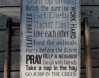 Farming Rules Sign primitive Typography Word Art  12x24