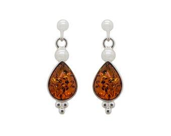 Drop Earrings - Art Deco Earrings - Teardrop Earrings - Dainty Earrings - Amber Earrings - Gemstone Earrings - Everyday Earrings -320E2