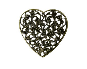 Filigree : 10 Antique Bronze Filigree Heart Connectors | Filigree Links | Heart Jewelry Stampings | Vintage Valentine Hearts  -- F-60425