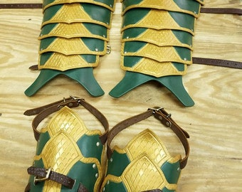 Leather Armor Ornate Scaled Greaves with Sabotes