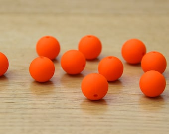 Orange 15mm Round Silicone beads, 10 pack