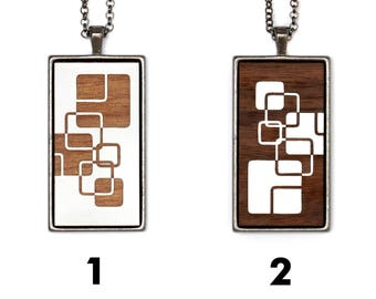 Contemporary cubism necklace in wood and metal. Everything is customizable. Modern cabochon jewel and graphic. Cubic graphism.