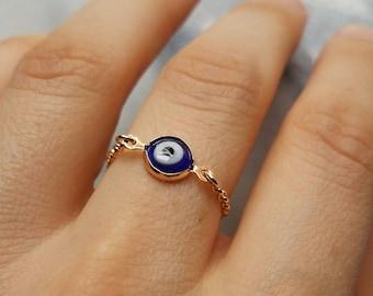 Evil Eye Ring Greek eye lapis blue