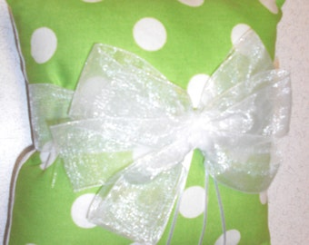 Lime Green Polka Dot Ring Bearer Pillow