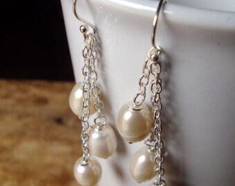 Pearl earrings,White earring,Sterling silver earrings,Wedding earrings,Handmade earriings,Women earrings