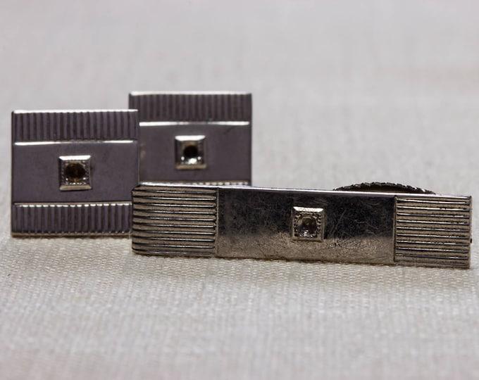 Vintage Silver Cuff Links & Tie Clip Set Men's Accessories Signed Hickok USA Men's Classic Square 1950s 60s True Vintage Cufflinks 7UU